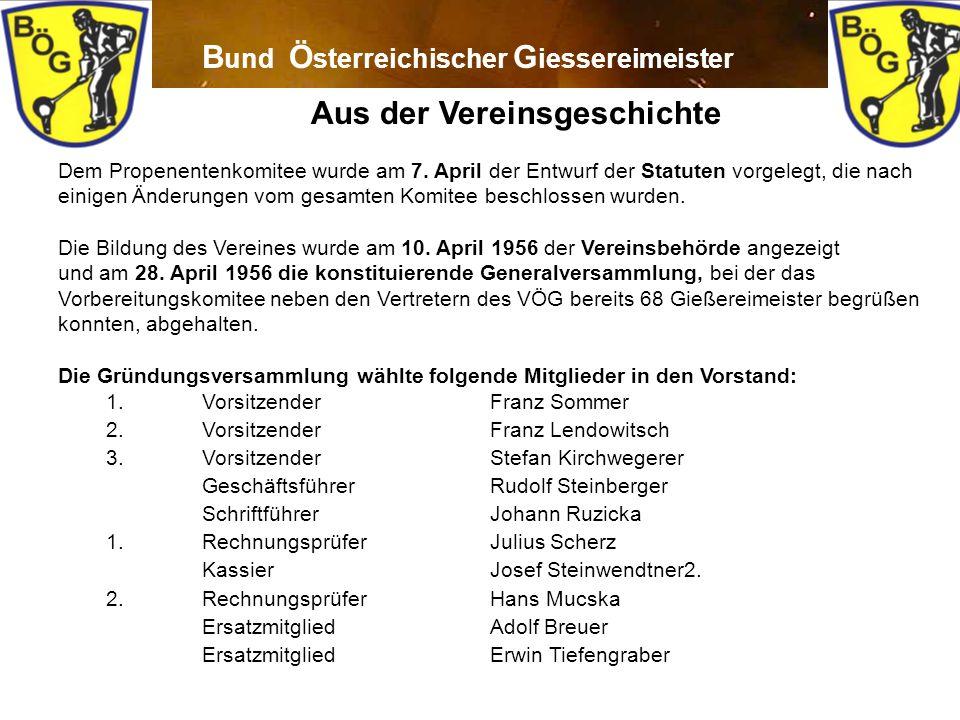 4 B und Ö sterreichischer G iessereimeister Aus der Vereinsgeschichte Dem Propenentenkomitee wurde am 7. April der Entwurf der Statuten vorgelegt, die