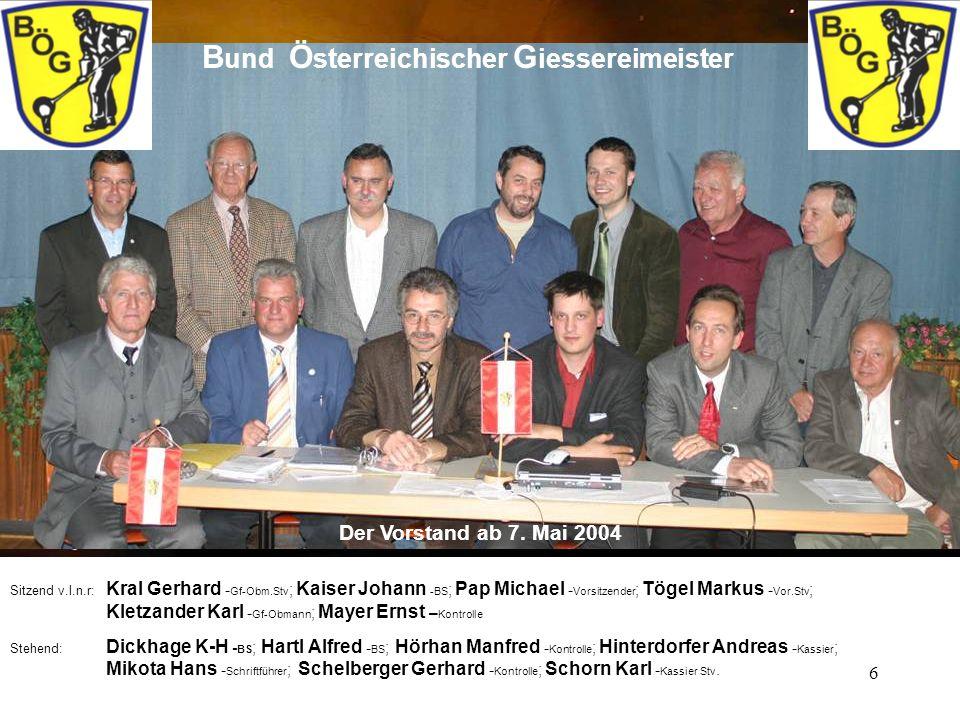 6 B und Ö sterreichischer G iessereimeister Der Vorstand ab 7. Mai 2004 Sitzend v.l.n.r: Kral Gerhard - Gf-Obm.Stv ; Kaiser Johann -BS ; Pap Michael -