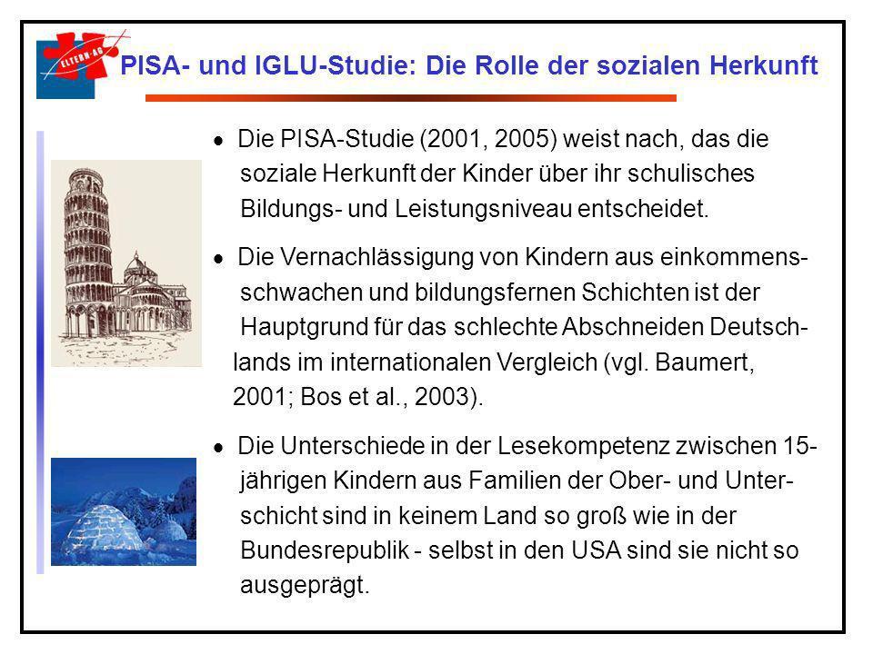 Eltern, Schule, Schulabbrecher: Die Lage taz, 08.02.2006 Die weltweiten Pisa-Tests haben gezeigt, dass der Bildungserfolg eines Kindes in keinem anderen vergleichbaren Industriestaat so abhängig von der sozialen Herkunft ist wie in Deutschland.