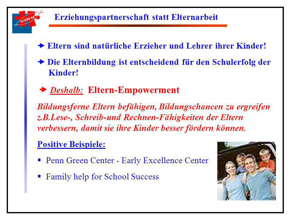 Die sechs grundsätzlichen Erziehungsregeln der ELTERN-AG Respekt vor dem Kind Förderung und Ansprechbarkeit Grenzen-Setzen und Konsequenz Verstärkung des erwünschten Verhaltens und Ignorieren des unerwünschten Verhaltens Konstruktives Austragen von Konflikten Gewaltfreie Erziehung
