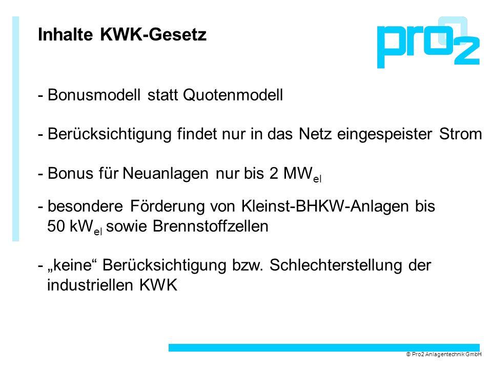 Inhalte KWK-Gesetz - Bonusmodell statt Quotenmodell - Berücksichtigung findet nur in das Netz eingespeister Strom - Bonus für Neuanlagen nur bis 2 MW el - besondere Förderung von Kleinst-BHKW-Anlagen bis 50 kW el sowie Brennstoffzellen - keine Berücksichtigung bzw.