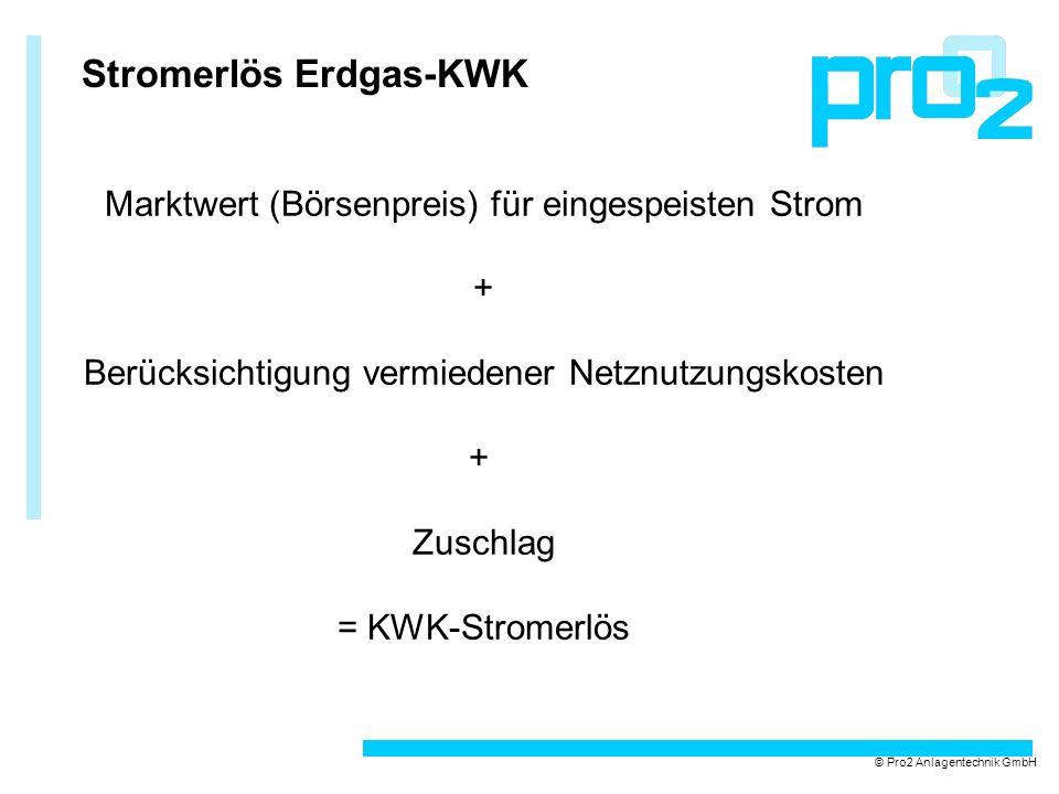 Stromerlös Erdgas-KWK Marktwert (Börsenpreis) für eingespeisten Strom + Berücksichtigung vermiedener Netznutzungskosten + Zuschlag = KWK-Stromerlös ©