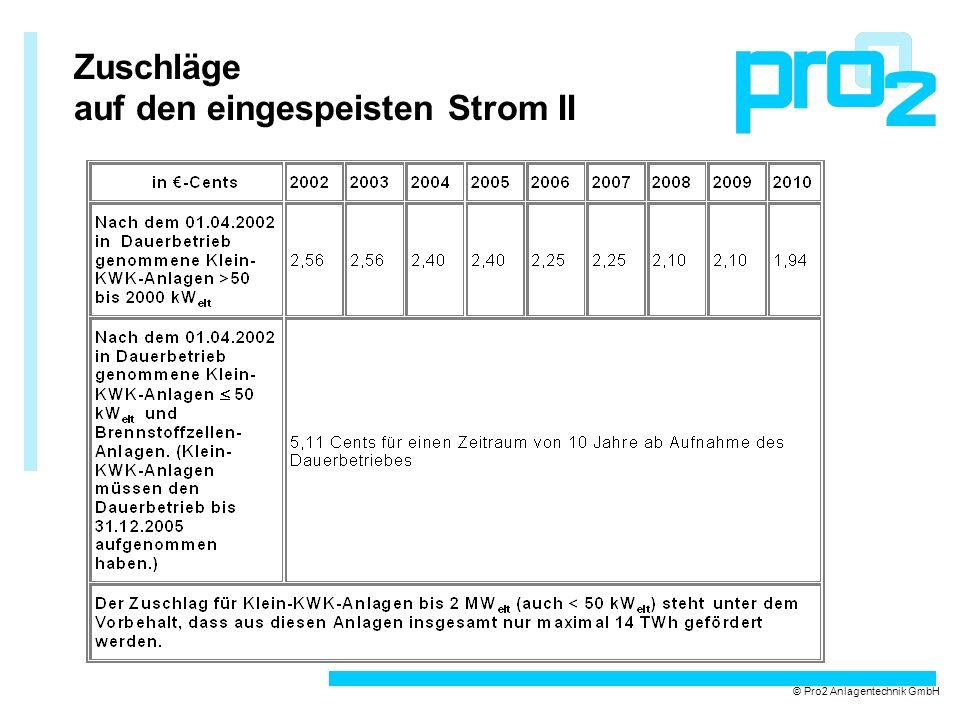 Zuschläge auf den eingespeisten Strom II © Pro2 Anlagentechnik GmbH