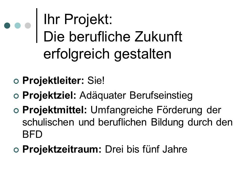 Ihr Projekt: Die berufliche Zukunft erfolgreich gestalten Projektleiter: Sie! Projektziel: Adäquater Berufseinstieg Projektmittel: Umfangreiche Förder