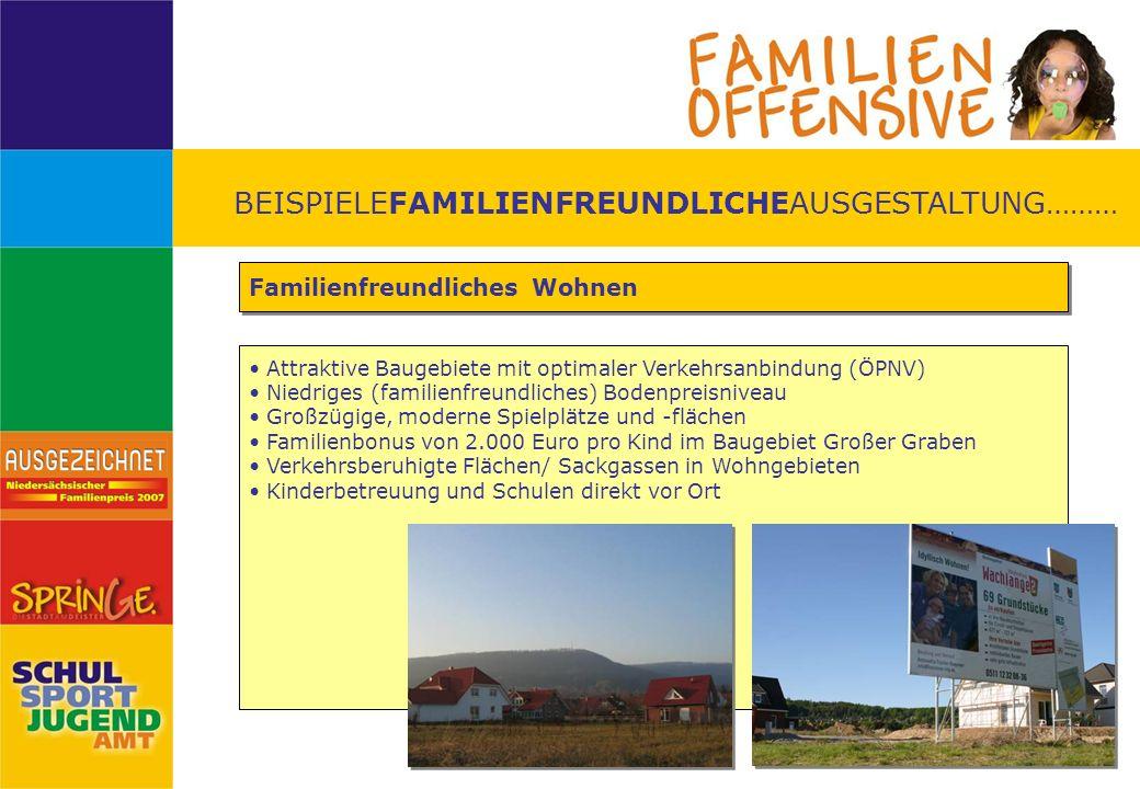 BEISPIELEFAMILIENFREUNDLICHEAUSGESTALTUNG……… Familienfreundliches Wohnen Attraktive Baugebiete mit optimaler Verkehrsanbindung (ÖPNV) Niedriges (famil