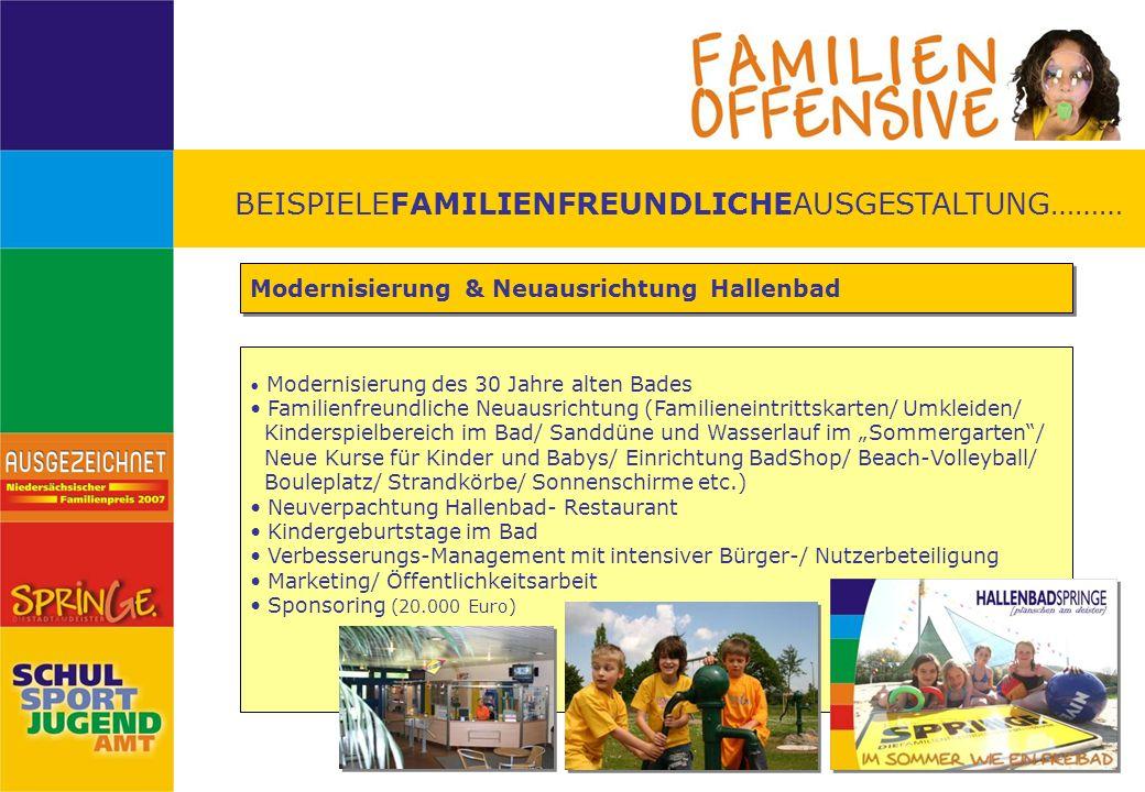 BEISPIELEFAMILIENFREUNDLICHEAUSGESTALTUNG……… Modernisierung & Neuausrichtung Hallenbad Modernisierung des 30 Jahre alten Bades Familienfreundliche Neu