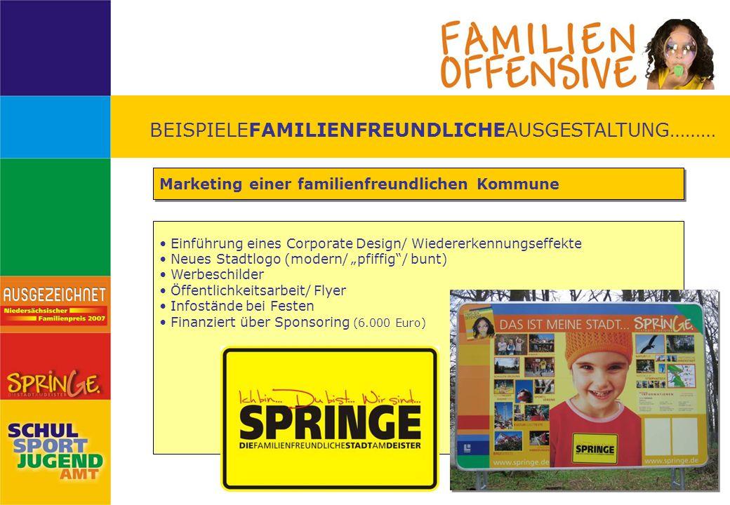 BEISPIELEFAMILIENFREUNDLICHEAUSGESTALTUNG……… Marketing einer familienfreundlichen Kommune Einführung eines Corporate Design/ Wiedererkennungseffekte N