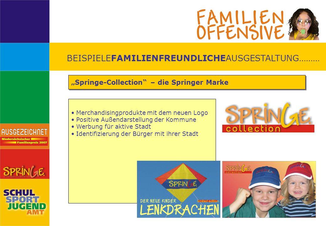 BEISPIELEFAMILIENFREUNDLICHEAUSGESTALTUNG……… Springe-Collection – die Springer Marke Merchandisingprodukte mit dem neuen Logo Positive Außendarstellun