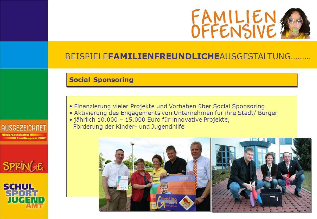 BEISPIELEFAMILIENFREUNDLICHEAUSGESTALTUNG……… Social Sponsoring Finanzierung vieler Projekte und Vorhaben über Social Sponsoring Aktivierung des Engage