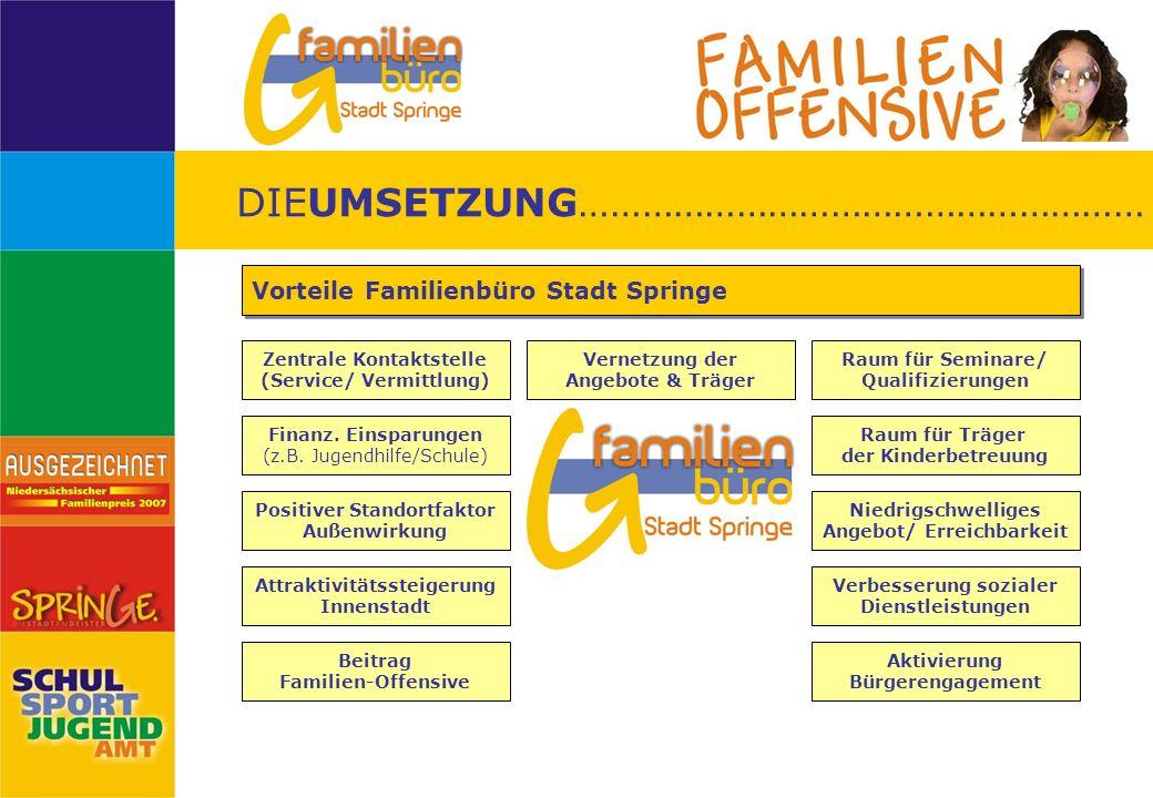 DIEUMSETZUNG……………………………………………… Zentrale Kontaktstelle (Service/ Vermittlung) Vorteile Familienbüro Stadt Springe Finanz. Einsparungen (z.B. Jugendhilf