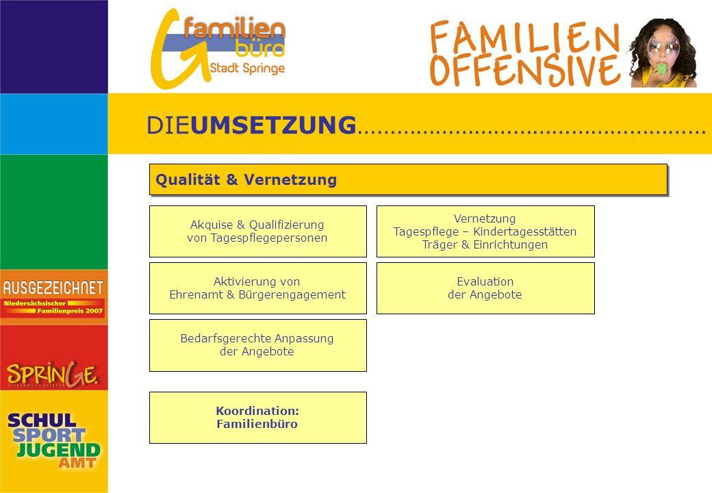 Akquise & Qualifizierung von Tagespflegepersonen Qualität & Vernetzung Vernetzung Tagespflege – Kindertagesstätten Träger & Einrichtungen DIEUMSETZUNG