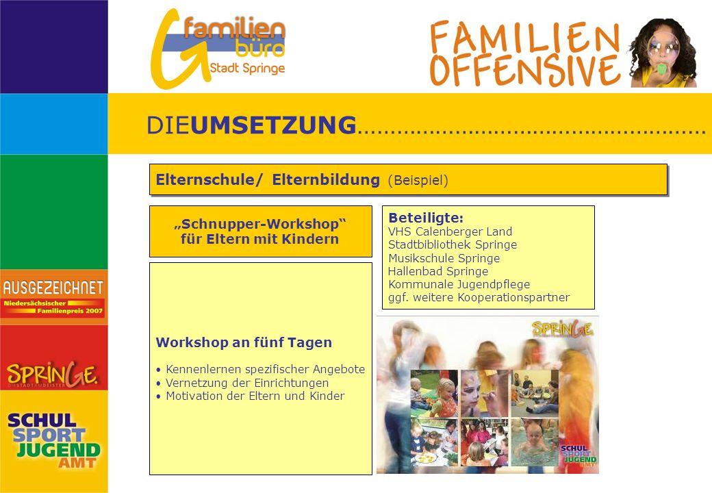 Schnupper-Workshop für Eltern mit Kindern Elternschule/ Elternbildung (Beispiel) DIEUMSETZUNG……………………………………………… Beteiligte: VHS Calenberger Land Stadt