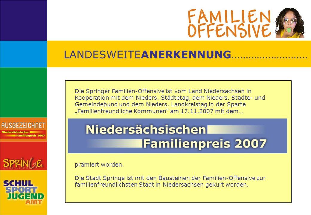 LANDESWEITEANERKENNUNG……………………… Die Springer Familien-Offensive ist vom Land Niedersachsen in Kooperation mit dem Nieders. Städtetag, dem Nieders. Stä