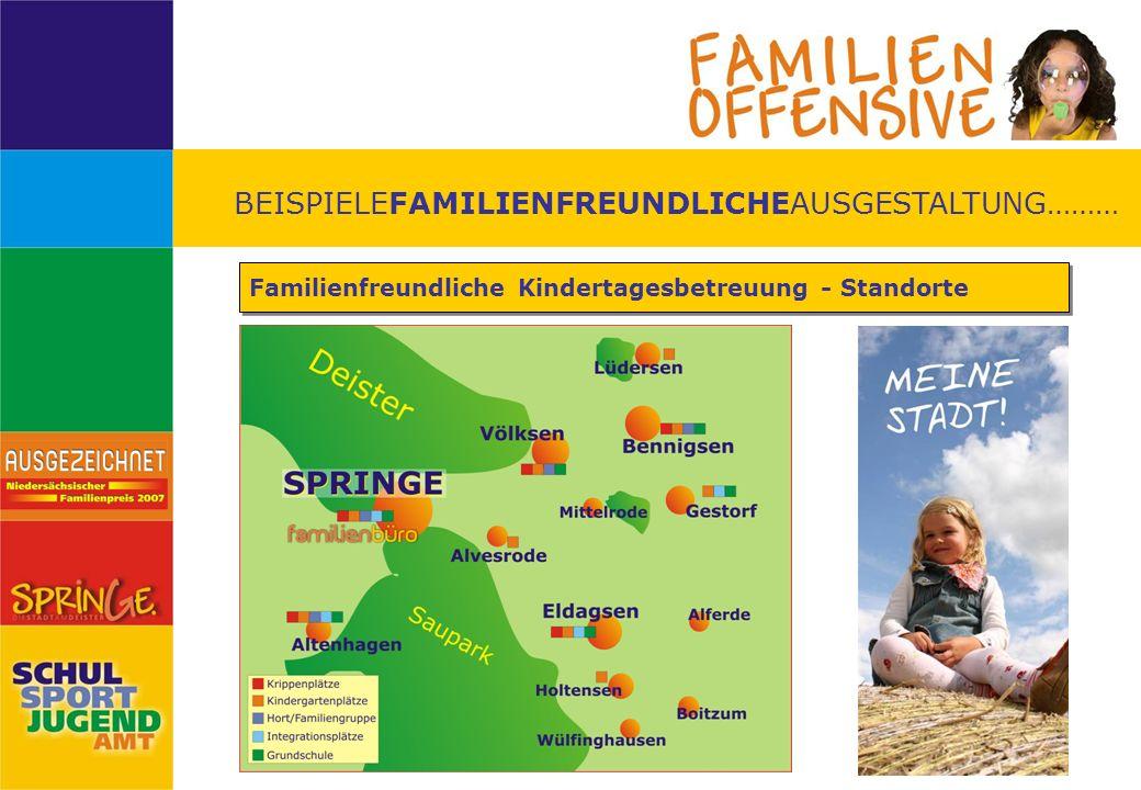 BEISPIELEFAMILIENFREUNDLICHEAUSGESTALTUNG……… Beteiligung von Bürgern und Unternehmen Im Frühjahr 2005 wurden Bürger aufgerufen, ihre Meinung zur Stadt Springe im Kontext von Familienfreundlichkeit mitzuteilen.