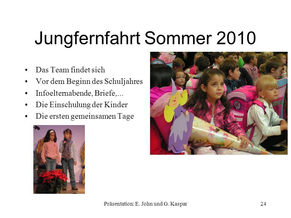 Jungfernfahrt Sommer 2010 Das Team findet sich Vor dem Beginn des Schuljahres Infoelternabende, Briefe,... Die Einschulung der Kinder Die ersten gemei