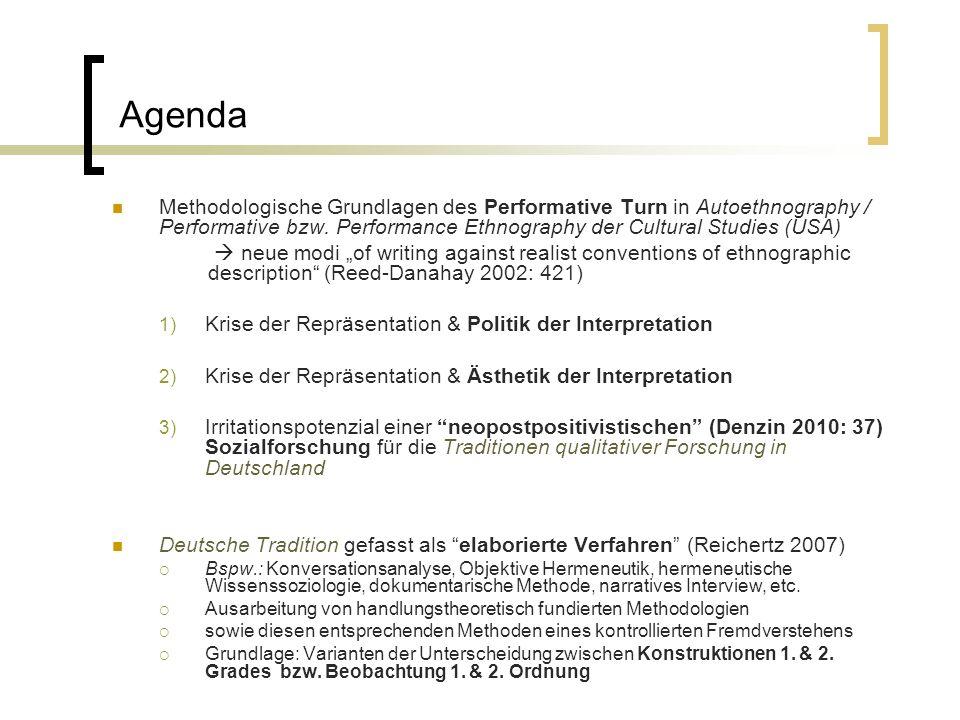 Agenda Methodologische Grundlagen des Performative Turn in Autoethnography / Performative bzw. Performance Ethnography der Cultural Studies (USA) neue