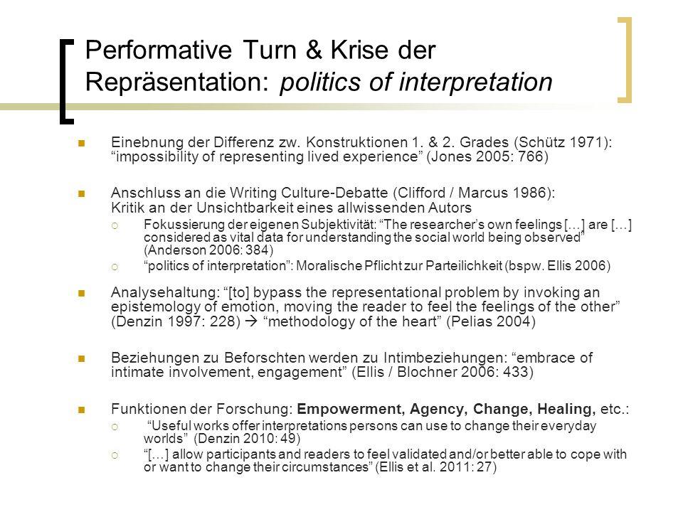 Performative Turn & Krise der Repräsentation: politics of interpretation Einebnung der Differenz zw. Konstruktionen 1. & 2. Grades (Schütz 1971):impos