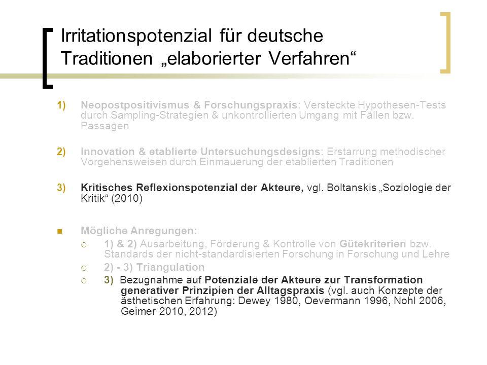 Irritationspotenzial für deutsche Traditionen elaborierter Verfahren 1) Neopostpositivismus & Forschungspraxis: Versteckte Hypothesen-Tests durch Samp