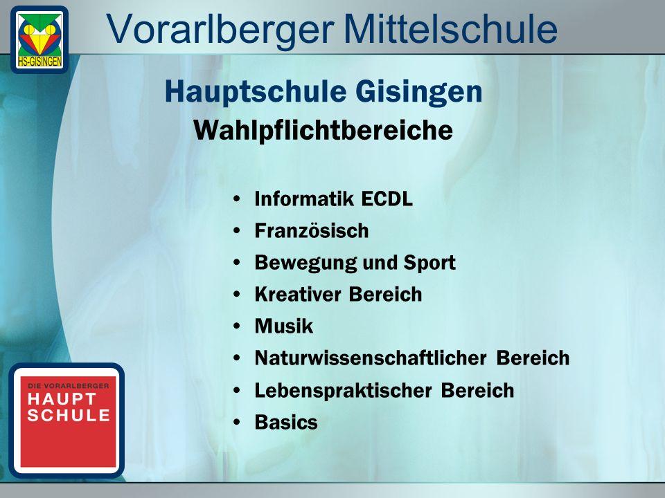 Vorarlberger Mittelschule Informatik ECDL Französisch Bewegung und Sport Kreativer Bereich Musik Naturwissenschaftlicher Bereich Lebenspraktischer Bereich Basics Wahlpflichtbereiche Hauptschule Gisingen