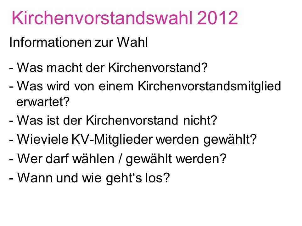 Kirchenvorstandswahl 2012 Informationen zur Wahl - Was macht der Kirchenvorstand.