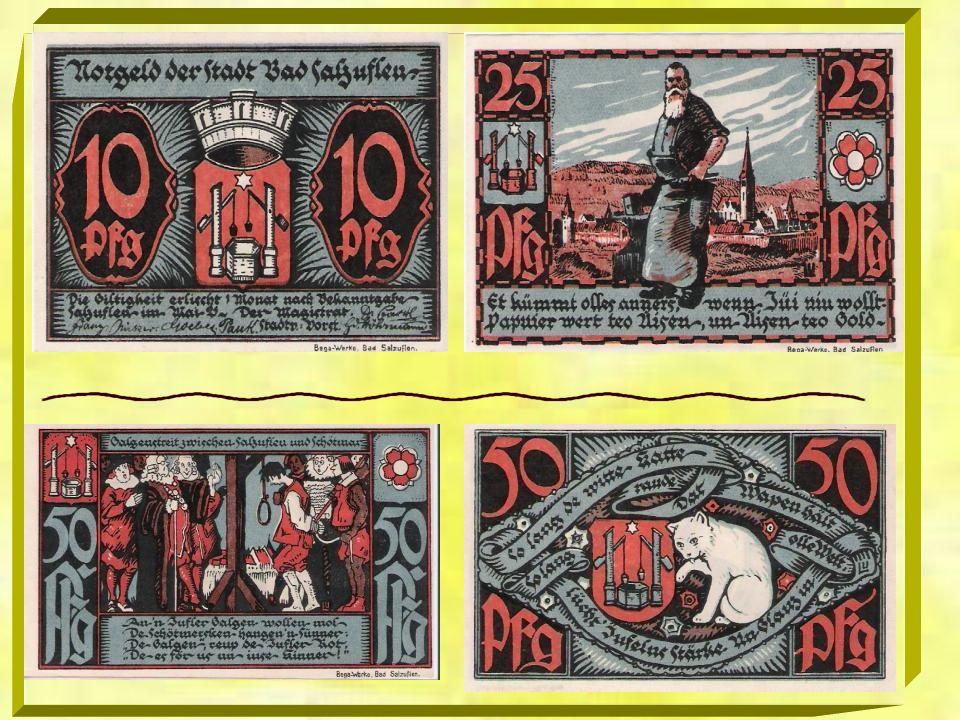 Im Deutschen Reich wurde in den Jahren während und nach dem Ersten Weltkrieg und während der Inflation eine besonders große Menge von variantenreich g