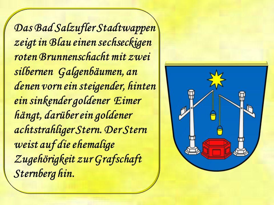 Das Bad Salzufler Stadtwappen zeigt in Blau einen sechseckigen roten Brunnenschacht mit zwei silbernen Galgenbäumen, an denen vorn ein steigender, hinten ein sinkender goldener Eimer hängt, darüber ein goldener achtstrahliger Stern.