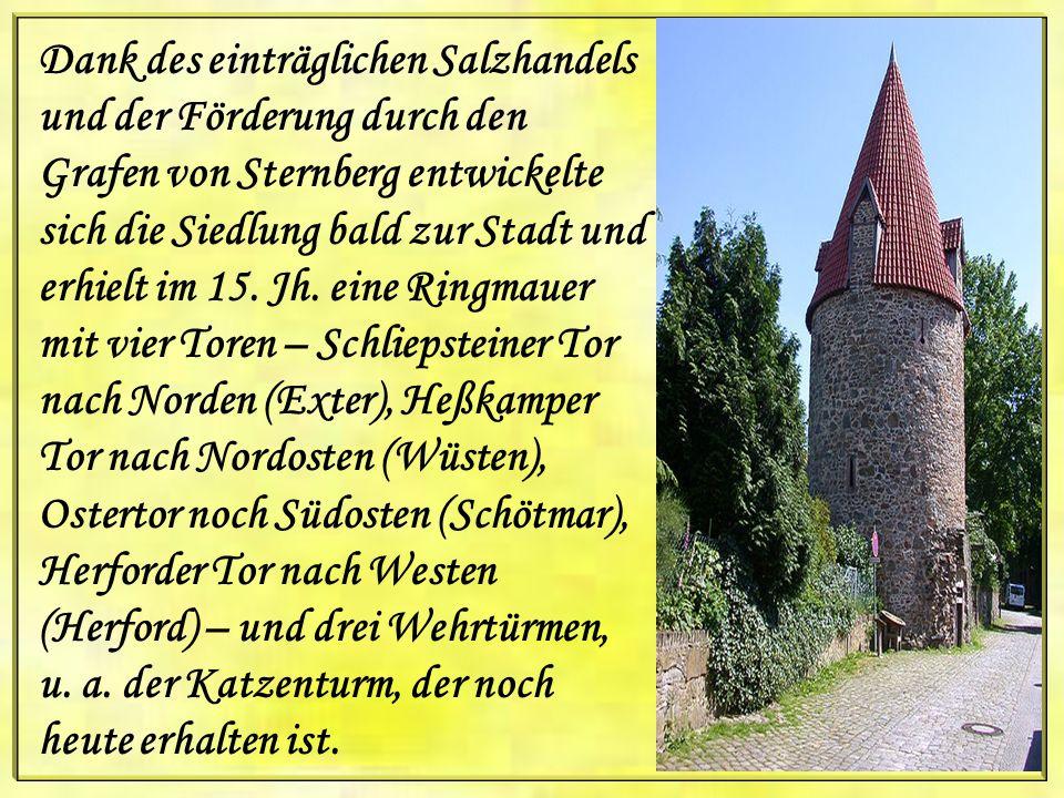 Dank des einträglichen Salzhandels und der Förderung durch den Grafen von Sternberg entwickelte sich die Siedlung bald zur Stadt und erhielt im 15.