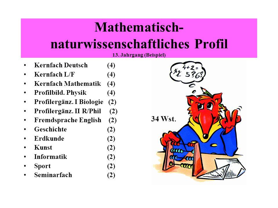 Mathematisch- naturwissenschaftliches Profil 13. Jahrgang (Beispiel) Kernfach Deutsch(4) Kernfach L/F(4) Kernfach Mathematik(4) Profilbild. Physik(4)