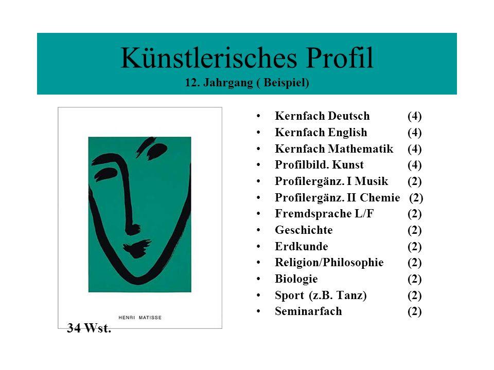 Künstlerisches Profil 12. Jahrgang ( Beispiel) Kernfach Deutsch (4) Kernfach English (4) Kernfach Mathematik (4) Profilbild. Kunst (4) Profilergänz. I