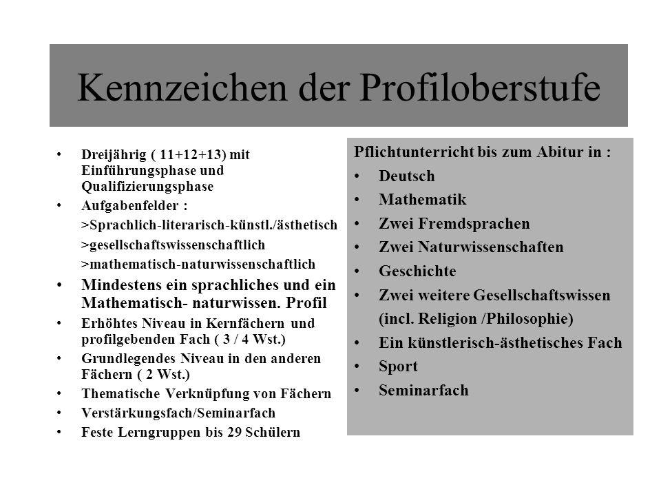 Kennzeichen der Profiloberstufe Dreijährig ( 11+12+13) mit Einführungsphase und Qualifizierungsphase Aufgabenfelder : >Sprachlich-literarisch-künstl./