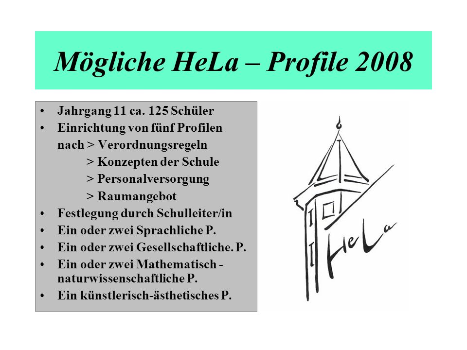 Mögliche HeLa – Profile 2008 Jahrgang 11 ca. 125 Schüler Einrichtung von fünf Profilen nach > Verordnungsregeln > Konzepten der Schule > Personalverso