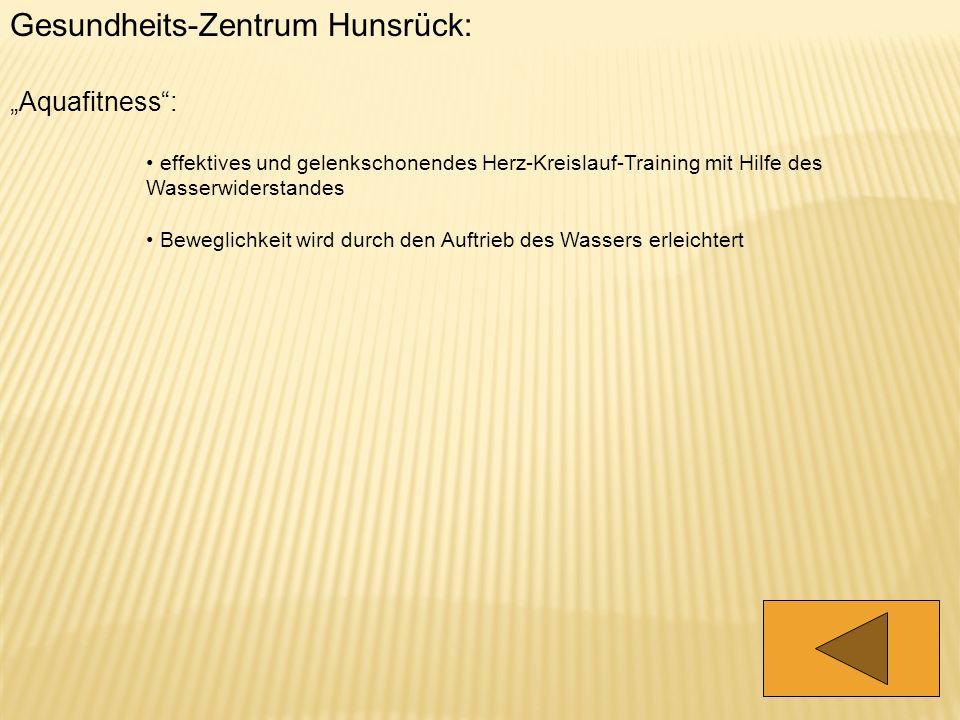Gesundheits-Zentrum Hunsrück: Aquafitness: effektives und gelenkschonendes Herz-Kreislauf-Training mit Hilfe des Wasserwiderstandes Beweglichkeit wird