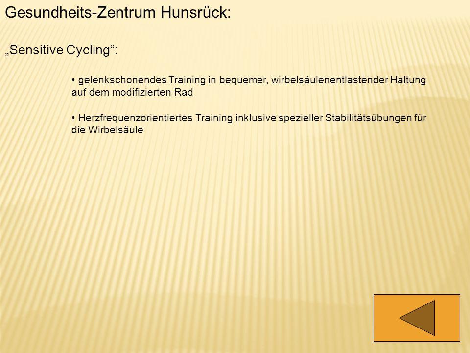 Gesundheits-Zentrum Hunsrück: Sensitive Cycling: gelenkschonendes Training in bequemer, wirbelsäulenentlastender Haltung auf dem modifizierten Rad Her