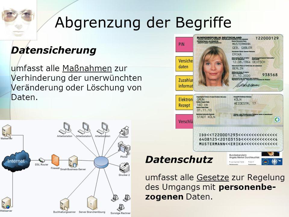 Abgrenzung der Begriffe Datensicherung umfasst alle Maßnahmen zur Verhinderung der unerwünchten Veränderung oder Löschung von Daten. Datenschutz umfas