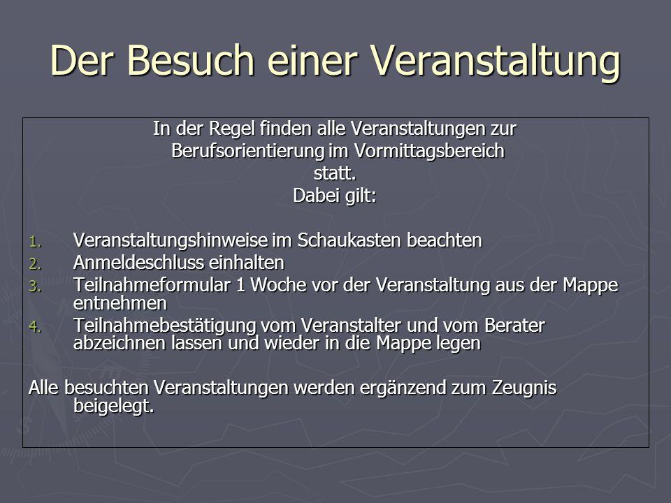 Veranstaltungshinweise Girl´s Day Girl´s Day Abi-Messe Köln Abi-Messe Köln ZAB (Informationsmesse zu Zukunft Ausbildung und Berufswahl) ZAB (Informati