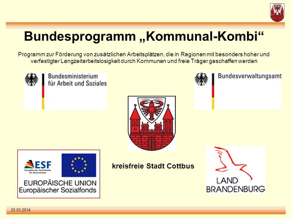 25.03.2014 Bundesprogramm Kommunal-Kombi Programm zur Förderung von zusätzlichen Arbeitsplätzen, die in Regionen mit besonders hoher und verfestigter