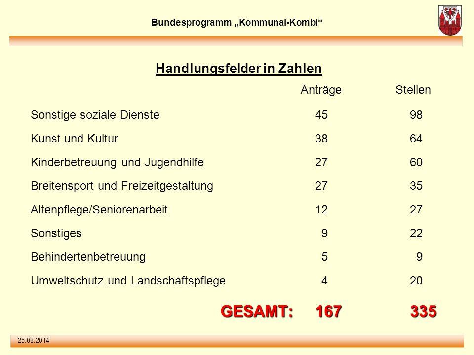25.03.2014 Bundesprogramm Kommunal-Kombi Handlungsfelder in Prozent