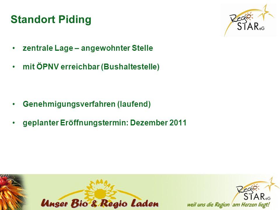 © FH-Prof. Dr. Bernhard Zimmer – Piding, 20.10.2011 Standort Piding zentrale Lage – angewohnter Stelle mit ÖPNV erreichbar (Bushaltestelle) Genehmigun