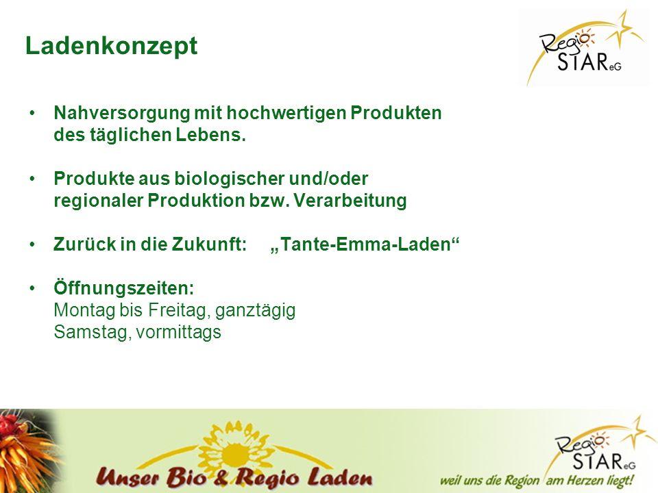 © FH-Prof. Dr. Bernhard Zimmer – Piding, 20.10.2011 Ladenkonzept Nahversorgung mit hochwertigen Produkten des täglichen Lebens. Produkte aus biologisc