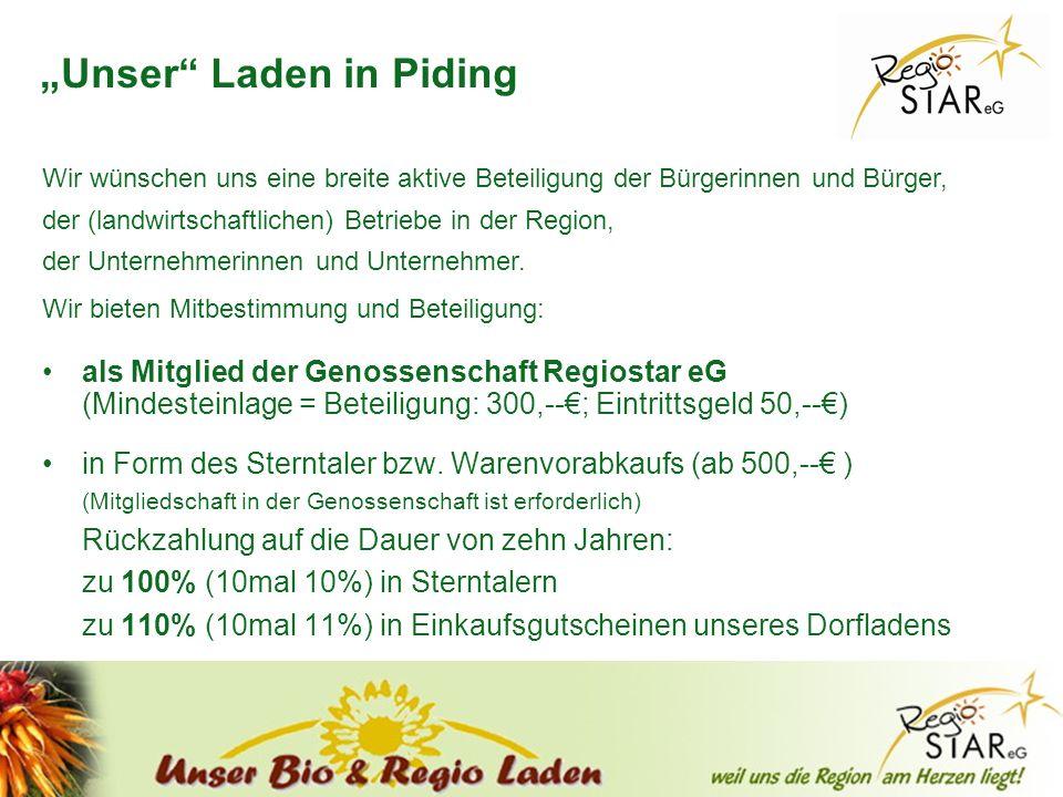 © FH-Prof. Dr. Bernhard Zimmer – Piding, 20.10.2011 Unser Laden in Piding als Mitglied der Genossenschaft Regiostar eG (Mindesteinlage = Beteiligung: