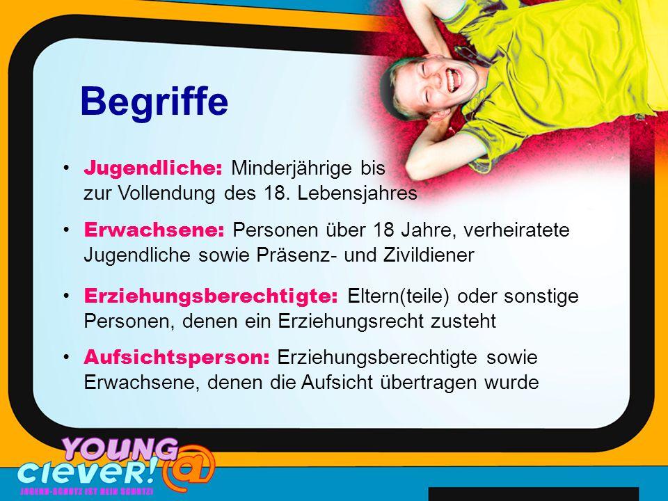 Begriffe Jugendliche: Minderjährige bis zur Vollendung des 18.