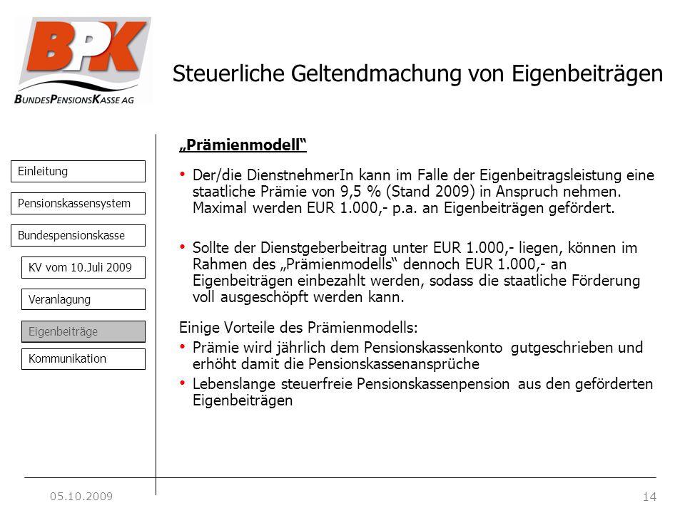 Einleitung 14 Pensionskassensystem Bundespensionskasse KV vom 10.Juli 2009 Veranlagung Eigenbeiträge Kommunikation Steuerliche Geltendmachung von Eige