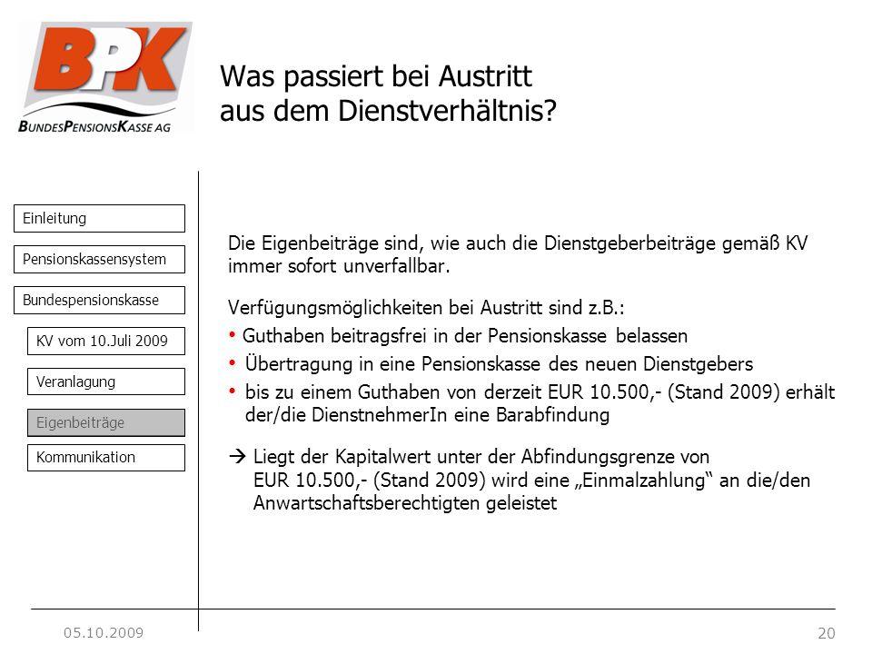 Einleitung 20 Pensionskassensystem Bundespensionskasse KV vom 10.Juli 2009 Veranlagung Eigenbeiträge Kommunikation Was passiert bei Austritt aus dem D