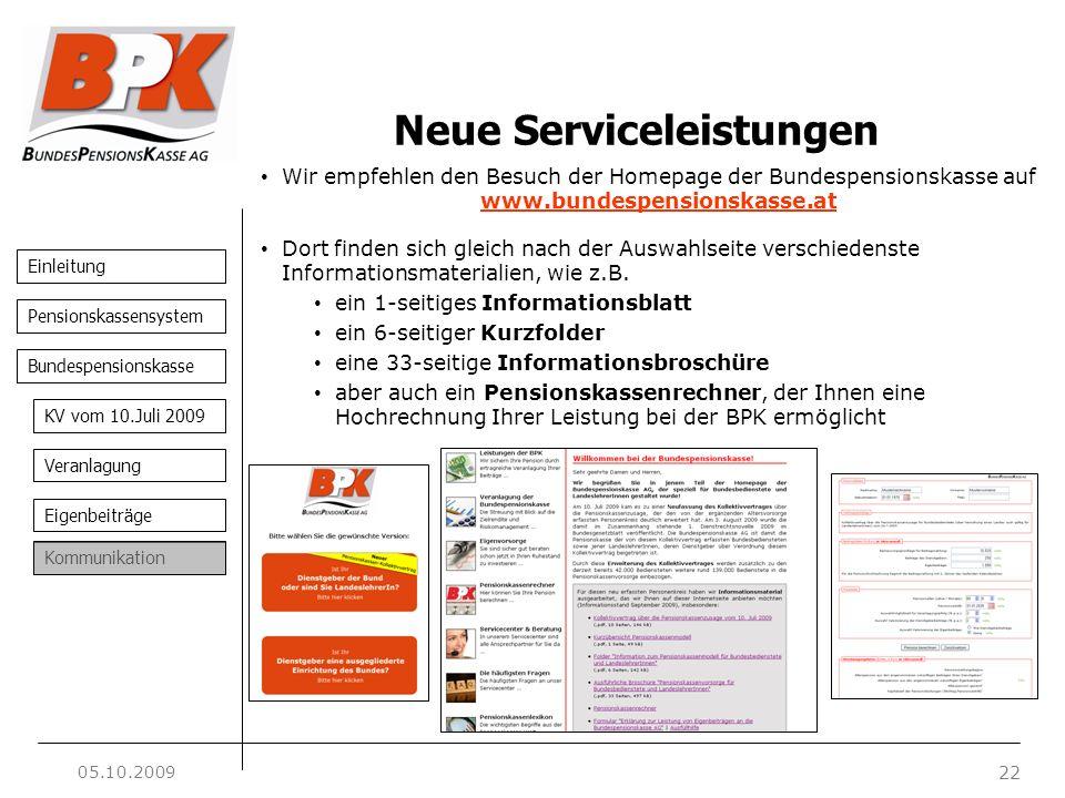 Einleitung 22 Pensionskassensystem Bundespensionskasse KV vom 10.Juli 2009 Veranlagung Eigenbeiträge Kommunikation Neue Serviceleistungen Wir empfehle