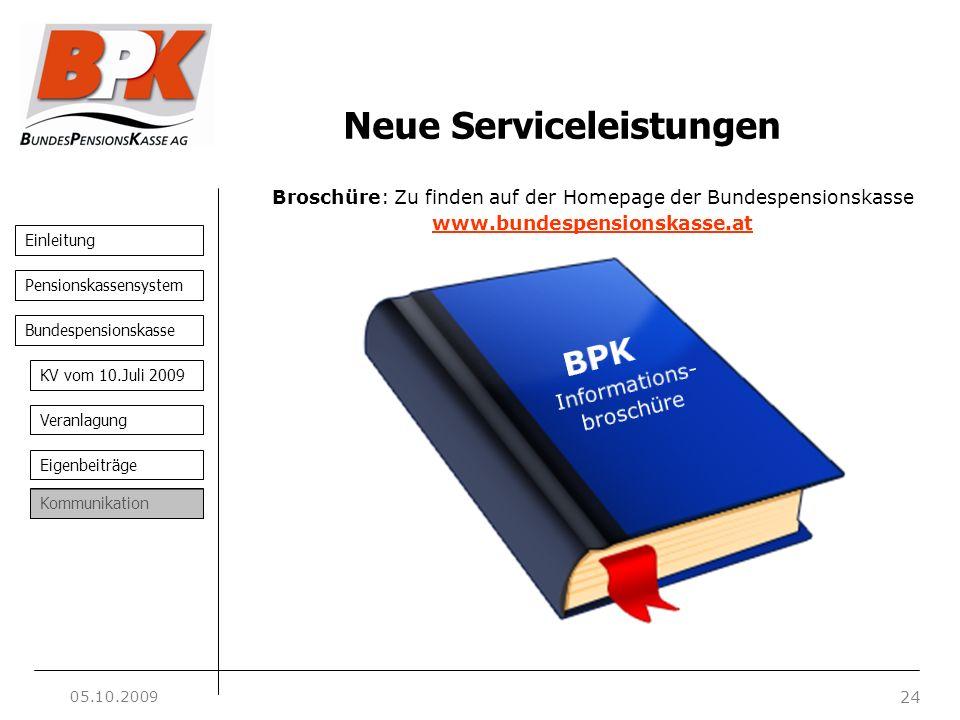 Einleitung 24 Pensionskassensystem Bundespensionskasse KV vom 10.Juli 2009 Veranlagung Eigenbeiträge Kommunikation Broschüre: Zu finden auf der Homepa