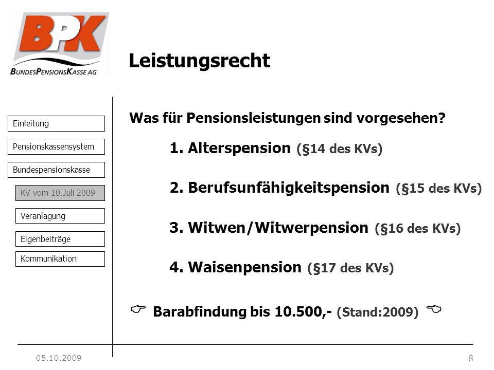 Einleitung 8 Pensionskassensystem Bundespensionskasse KV vom 10.Juli 2009 Veranlagung Eigenbeiträge Kommunikation Leistungsrecht Was für Pensionsleistungen sind vorgesehen.