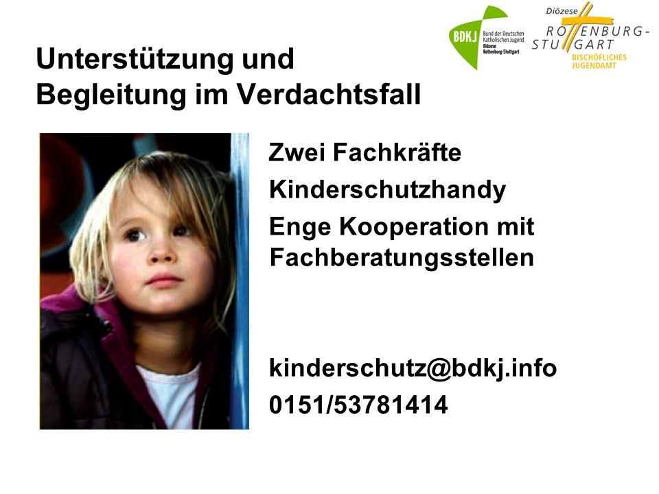 Unterstützung und Begleitung im Verdachtsfall Zwei Fachkräfte Kinderschutzhandy Enge Kooperation mit Fachberatungsstellen kinderschutz@bdkj.info 0151/53781414