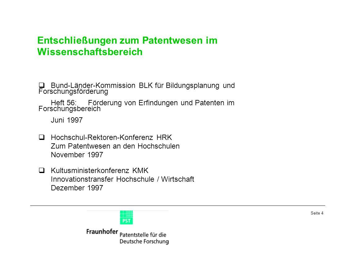 Seite 4 Entschließungen zum Patentwesen im Wissenschaftsbereich Bund-Länder-Kommission BLK für Bildungsplanung und Forschungsförderung Heft 56:Förderu