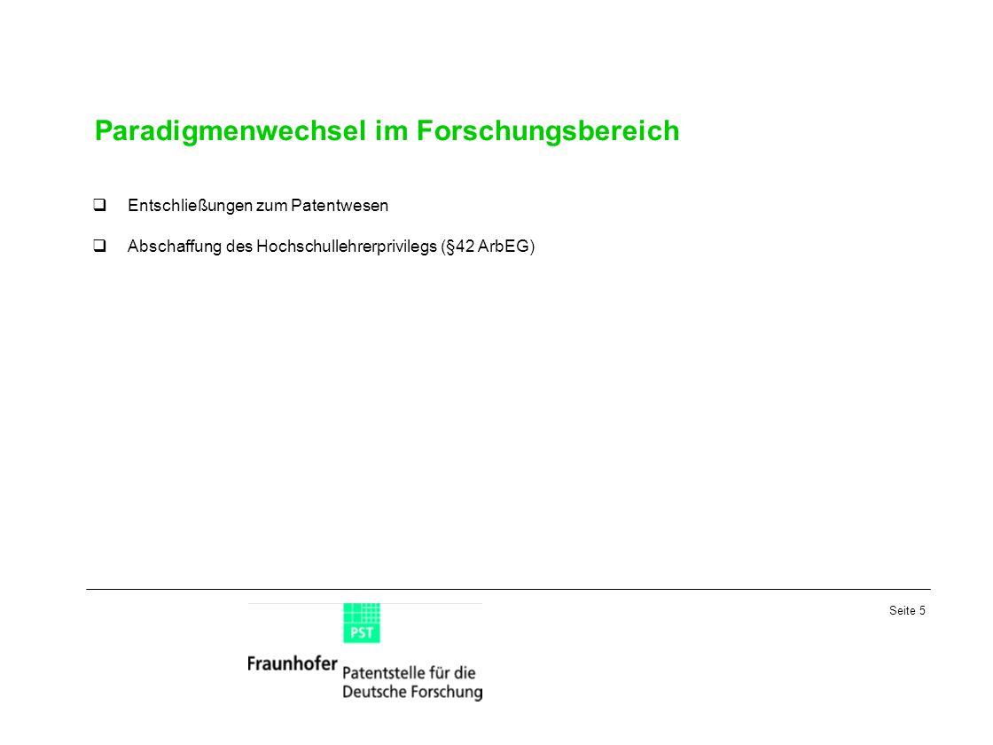 Seite 5 Paradigmenwechsel im Forschungsbereich Entschließungen zum Patentwesen Abschaffung des Hochschullehrerprivilegs (§42 ArbEG)