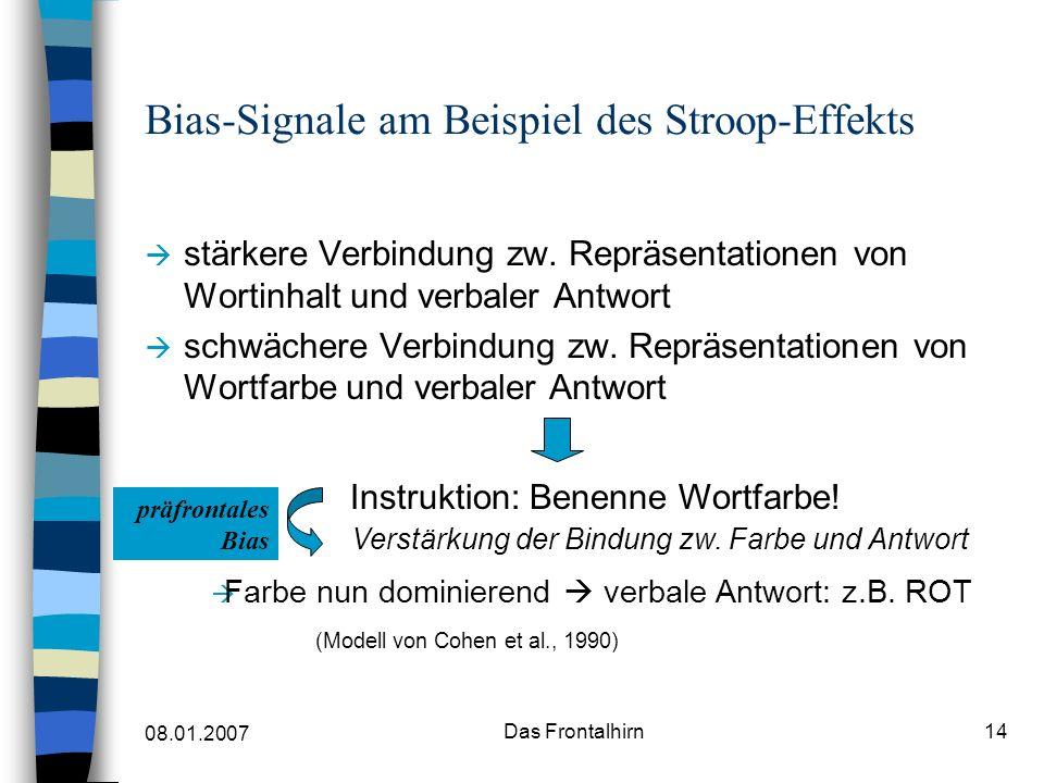 08.01.2007 Das Frontalhirn14 Bias-Signale am Beispiel des Stroop-Effekts stärkere Verbindung zw.
